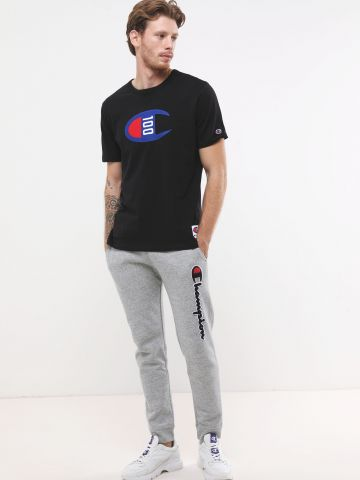 מכנסי טרנינג מלאנז' ארוכים עם פאץ' לוגו