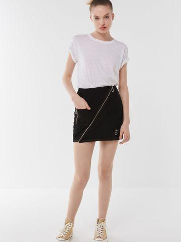 חצאית מיני עם רוכסן אלכסוני BDG