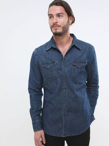 חולצת ג'ינס מכופתרת בשטיפה כהה