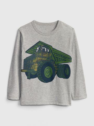 טי שירט שרוולים ארוכים עם הדפס משאית / 12M-5Y