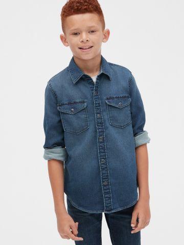 חולצת ג'ינס עם כפתורי תיק-תק / בנים