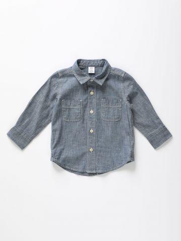 חולצה מכופתרת עם שרוולים ארוכים / 12M-5Y