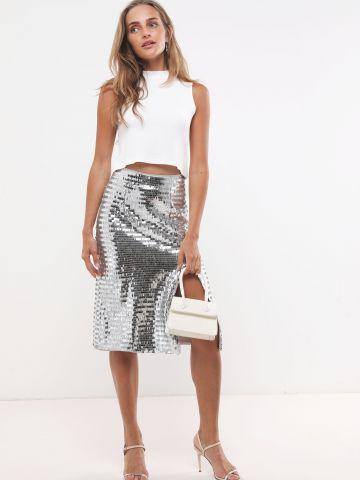 חצאית פאייטים מטאלית עם שסע
