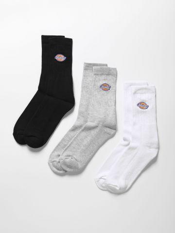 מארז 3 זוגות גרביים גבוהים עם פאץ' לוגו / גברים