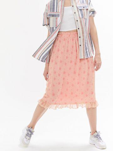 חצאית מידי פפלום בהדפס פרחים UO