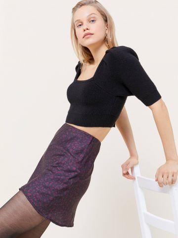חצאית סאטן מיני בהדפס פרחים UO