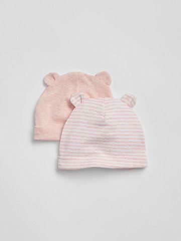 מארז 2 כובעי גרב עם אוזניים / בייבי בנות