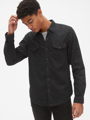 חולצת ג'ינס בגזרת סלים