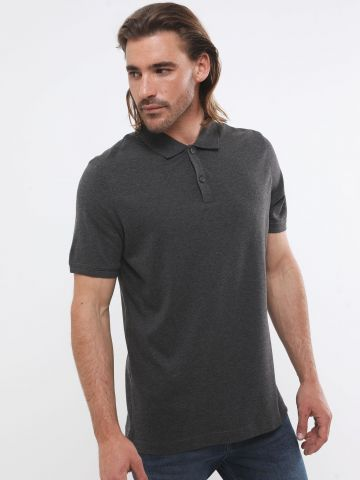 חולצת פולו חלקה קלאסית