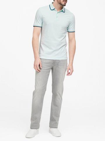 חולצת פולו עם סיומת מודגשת