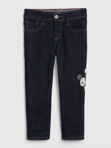 ג'ינס סלים סטרץ' עם הדפס מיקי מאוס / 12M-5Y