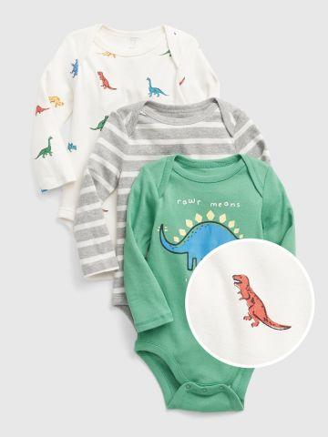 מארז 3 בגדי גוף בהדפס דינוזאורים / 0-24M