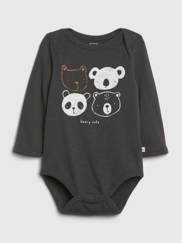 בגד גוף עם הדפס דובים ושרוולים ארוכים / 0-24M