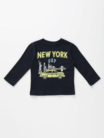 טי שירט שרוולים ארוכים עם הדפס New York / 12M-5Y