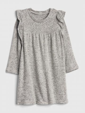 שמלת סריג מלאנז' עם מלמלה / 12M-5Y