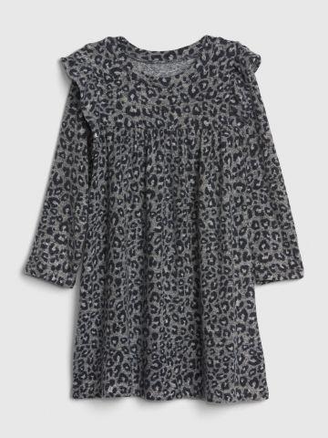 שמלת סריג בהדפס מנומר עם מלמלה / 12M-5Y