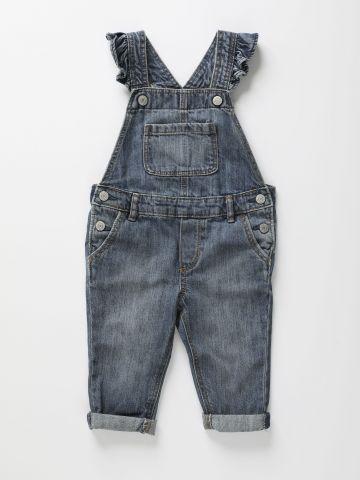 אוברול ג'ינס ארוך עם כתפיות מלמלה / 12M-5Y