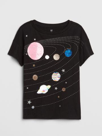 טי שירט גלקסיה עם פאייטים מתחלפים / בנות