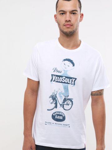 טי שירט עם הדפס אופניים וכיתוב