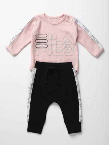 סט בגד גוף ומכנסיים עם לוגו / 0-12M