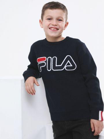 סוודר בייסיק עם רקמת לוגו