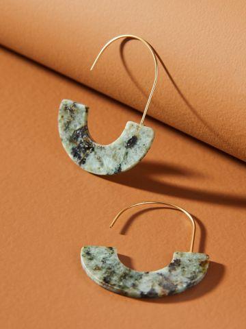 עגילי חישוק אליפטיים בשילוב אבן