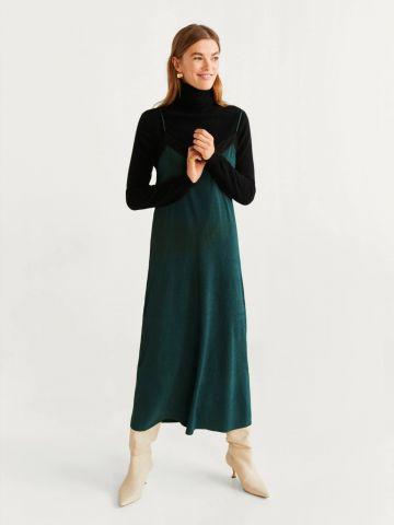 שמלת קרפ מידי עם שוליים תחרה