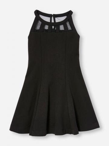 שמלה ללא שרוולים בשילוב רשת / בנות