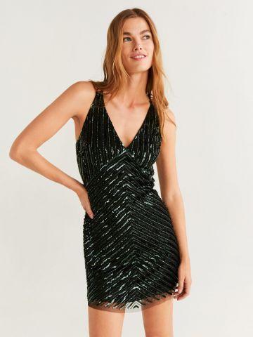שמלת מיני עם פאייטים וכתפיות כפולות