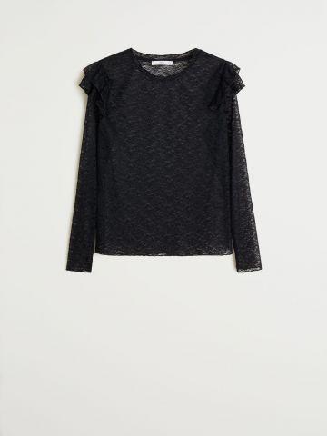 חולצת תחרה עם עיטורי מלמלה / נשים