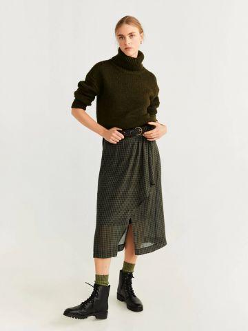 חצאית מידי בהדפס משבצות עם עיטור מלמלה