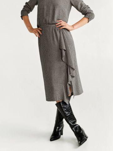 חצאית מידי בהדפס משבצות בסגנון מעטפת