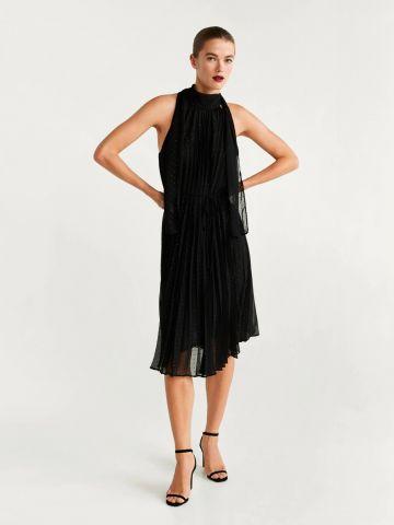 שמלת מידי פליסה בדוגמת נקודות מנצנצות