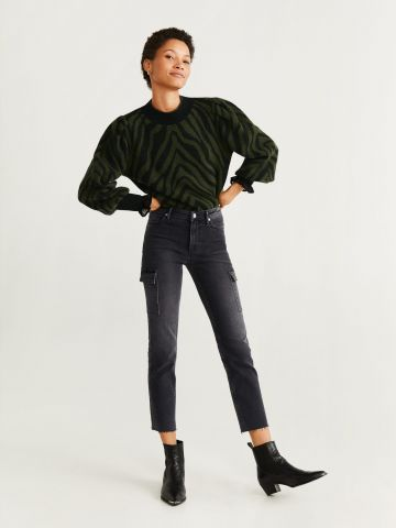 ג'ינס גזרה ישרה עם כיסים