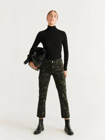 ג'ינס קמופלאז' בגזרה ישרה עם כיסים