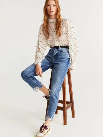 ג'ינס בגזרה גבוהה עם סיומת פרומה