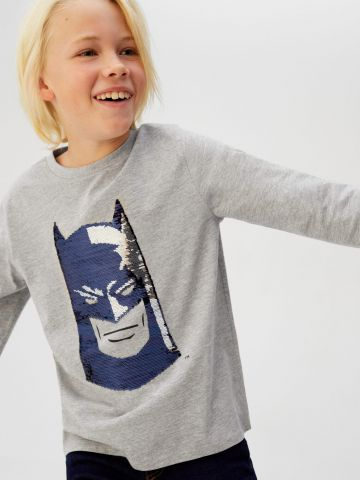 טי שירט באטמן פאייטים בכיוונים מתחלפים
