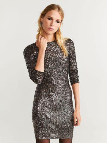 שמלת פאייטים מיני עם שרוולים ארוכים