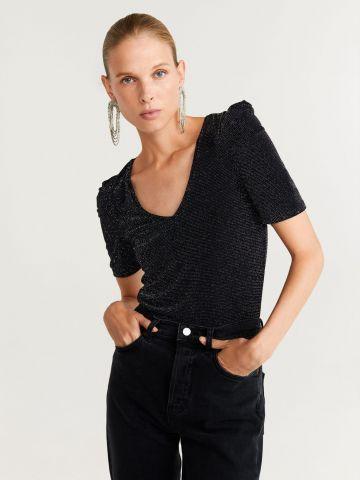 חולצת לורקס עם כיווצים בכתפיים