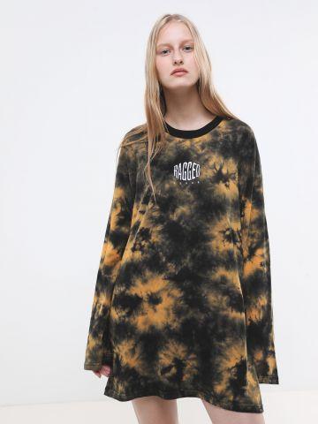 שמלת טי שירט טאי דאי עם רקמת לוגו Ragged