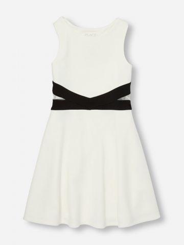 שמלה עם סטריפים בשילוב רשת / בנות