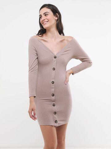 שמלת ריב עם כפתורים ושרוולים ארוכים