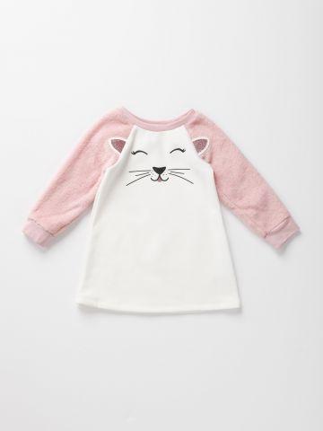 שמלת חתול עם שרוולים דמוי פרווה / 12M-5Y