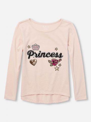 טי שירט שרוולים ארוכים עם כיתוב Princess בעיטור פאייטים / בנות