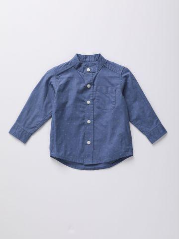 חולצה מכופתרת בהדפס גיאומטרי / 9M-4Y