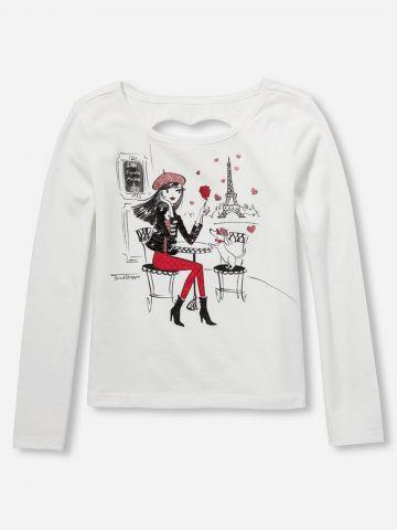 חולצת פריז עם עיטורי פאייטים ופתח לב בגב / בנות