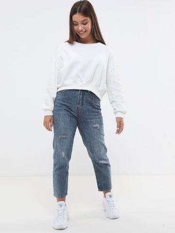 ג'ינס Mom בגזרה גבוהה עם קרעים