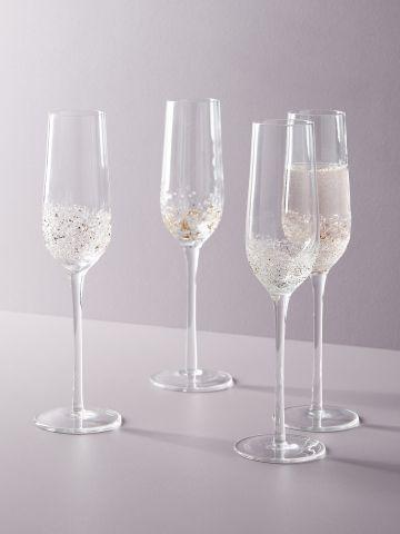 מארז 4 כוסות שמפניה מזכוכית עם עיטורים Volcania