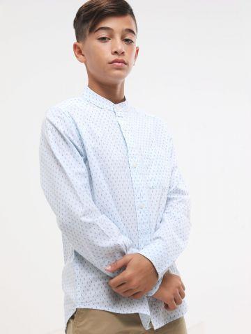 חולצה מכופתרת בהדפס נקודות עם צווארון סיני