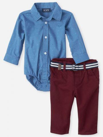 סט בגד גוף ומכנסיים ארוכים / 0-18M